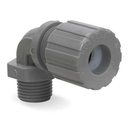 HUBBELL WIRING DEVICE-KELLEMS Liquid Tight Connector,1/2in.,90 deg,Re NHC1021CR