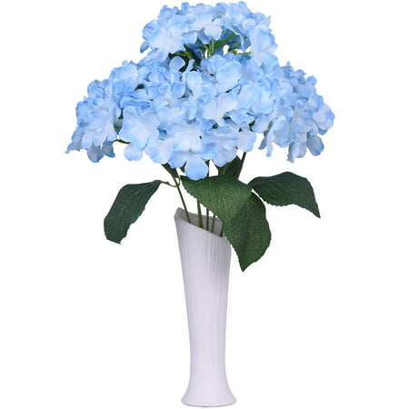 Coolmade 6 Big Heads Hydrangeas Flowers Fake Silk Hydrangea Artificial Flower Arrangements Bridal Bouquet Wedding Party Garden Home Decor (Light (Big Flower Arrangements)