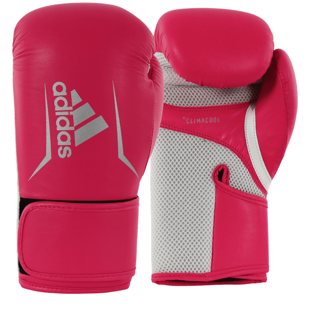Adidas Speed 100 Boxing, Kickboxing Gloves for Women & Men- 12oz, Solar Red/Silver