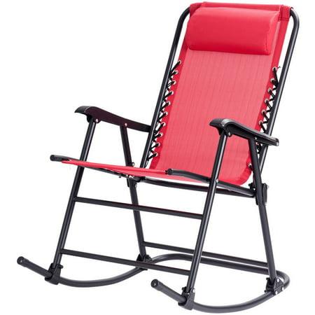 Costway Folding Zero Gravity Rocking Chair Rocker Porch Outdoor Patio Headrest Red ()