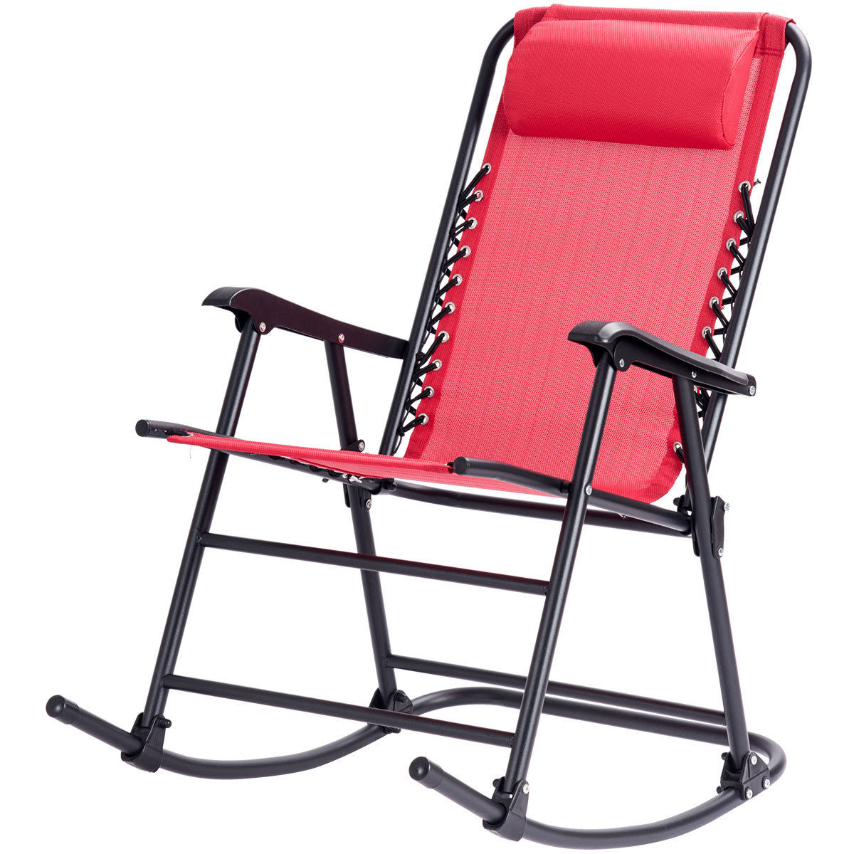 Costway Folding Zero Gravity Rocking Chair Rocker Porch Outdoor Patio Headrest Red