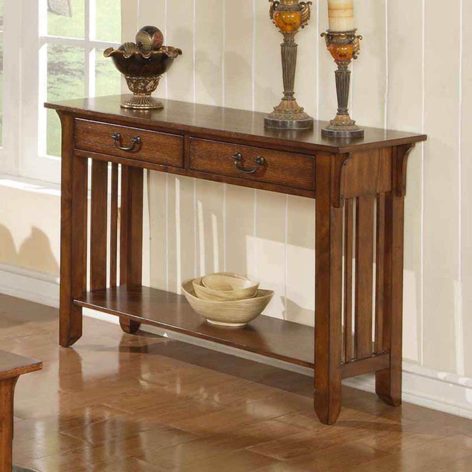 Zahara 2 Drawer Sofa Table - Mission Oak