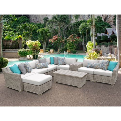 TK Classics Coast 10 Piece Sectional Seating Group with Cushions