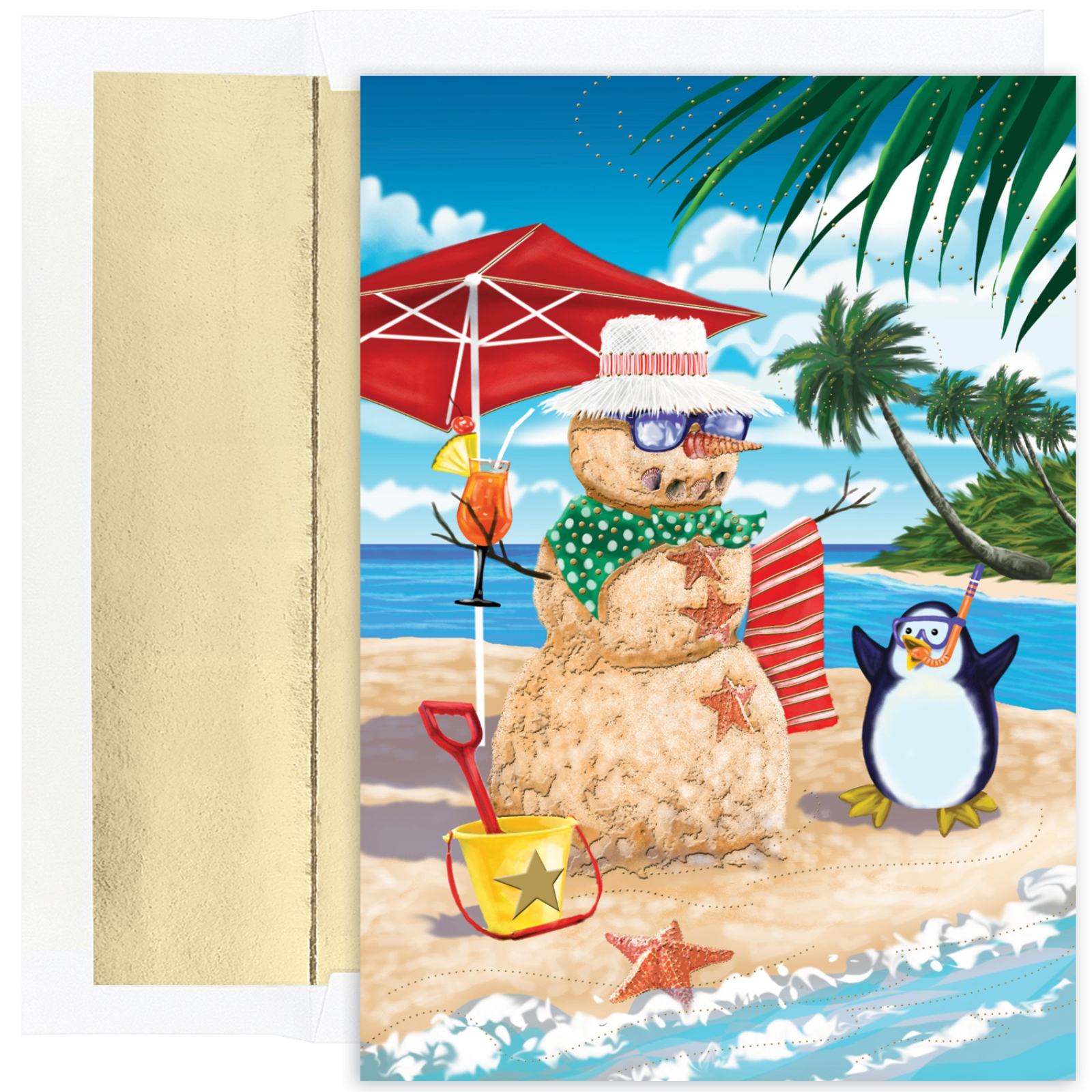 Beachy Sand Snowman Celebrating with Beach Penguin 18 Boxed Christmas Cards