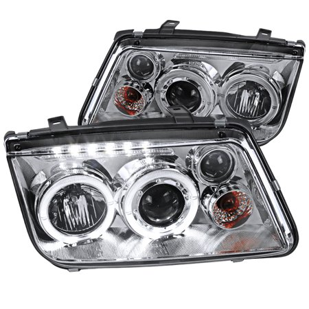Spec-D Tuning For 1999-2004 Volkswagen Jetta Led Projector Headlight Chrome W/Fog 1999 2000 2001 2002 2003 2004 (Left+Right)