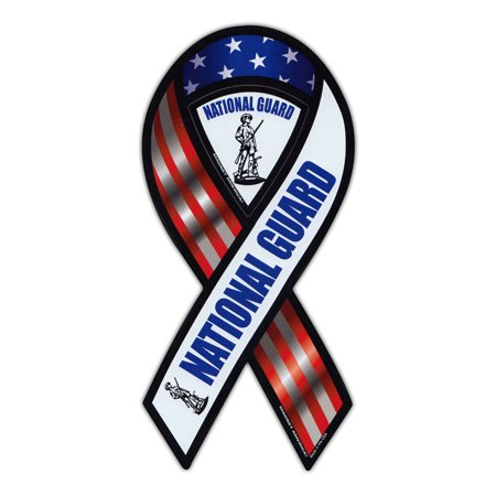 Magnetic Bumper Sticker - National Guard (Army) - Ribbon Shaped Support, Pride Magnet - 3.75
