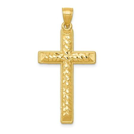 Roy Rose Jewelry 14k Yellow Gold Diamond-cut Latin Cross Pendant