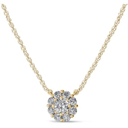 IN LOVE BY BRIDES 1/4 Carat T.W. Certified Flower Burst Diamond 14kt Yellow Gold Pendant