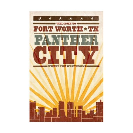 Fort Worth, Texas - Skyline and Sunburst Screenprint Style Print Wall Art By Lantern Press - Halloween Festivals Fort Worth