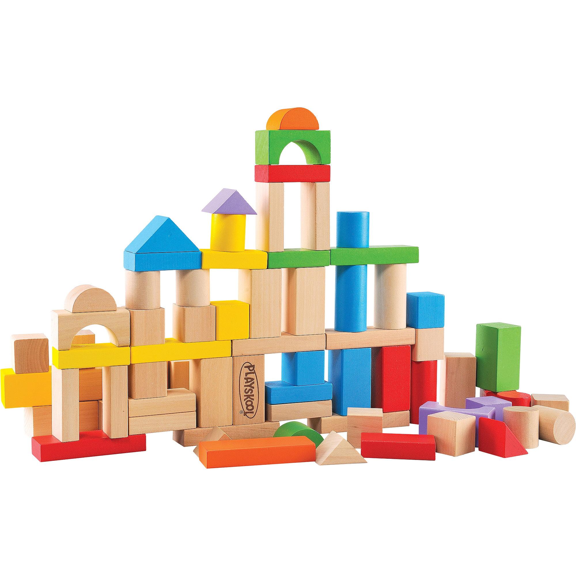 Playskool 80 Piece Wooden Building Blocks Walmart Com