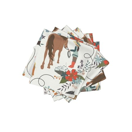 Cocktail Napkins Multicultural Diverse Riding Stable Red Brown Girls Set of 4
