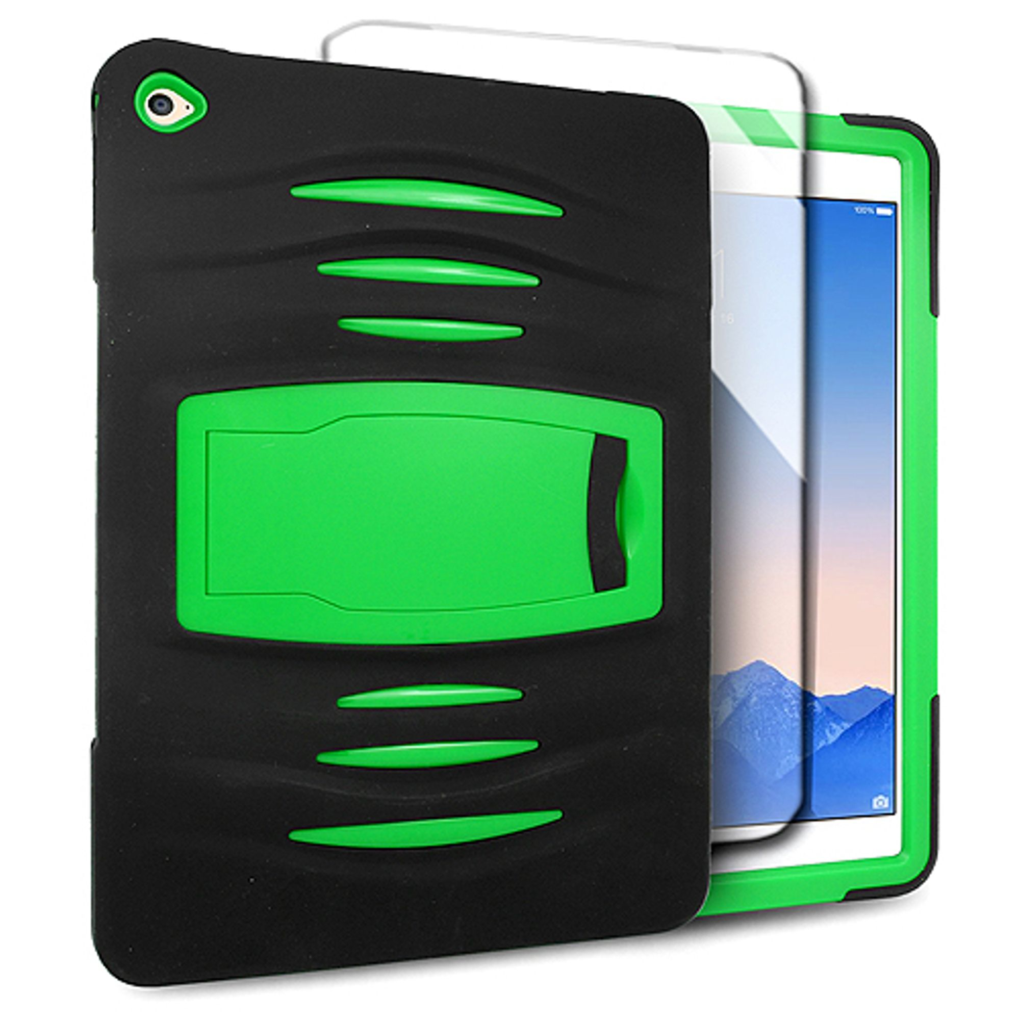 iPad Air 2 Case, by Insten Dual Layer [Shock Absorbing] Hybrid Stand Rubber Silicone/Plastic Case Cover For Apple iPad Air 2