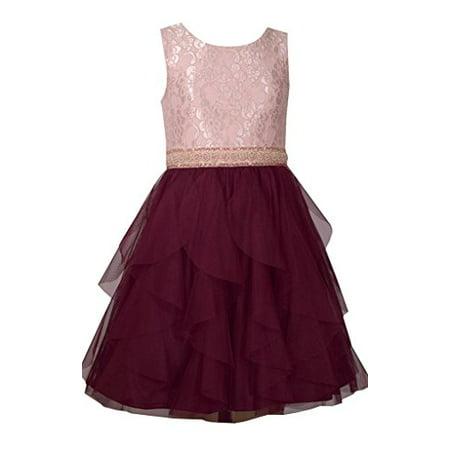 Bonnie Jean Sleeveless Dress with Ivory Bodice and Tiered Burgundy Chiffon Layered Skirt 16Y Bodice Chiffon Skirt