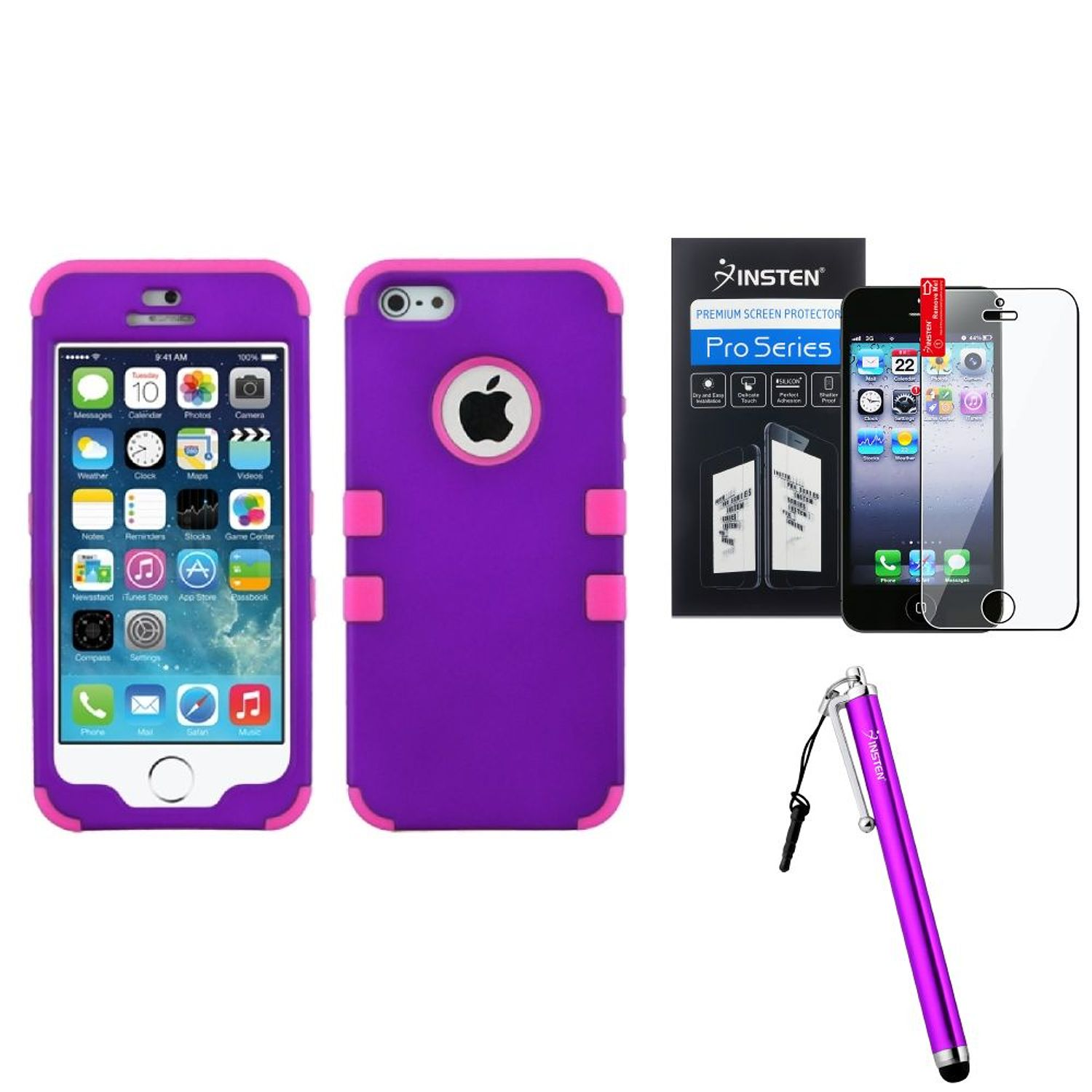 Grape/Electric Pink Case Phone Hard Rubber+Screen Protector+Pen For iPhone SE 5 5S by Insten