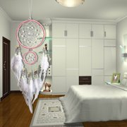 Wall Hanging Crystal Wind Chime Dream Catcher Dreamcatcher with White Feather