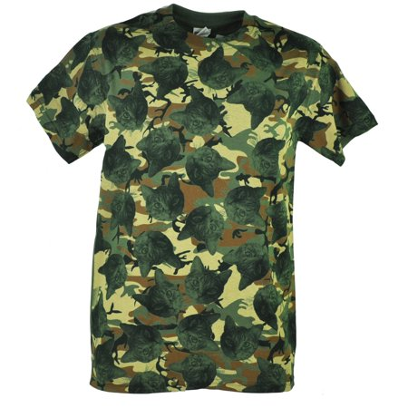Kitten Heads Cats Repetition Camouflage Camo Graphic Men Adult Tshirt Tee XLarge
