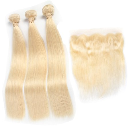 HC Brazilian Virgin Hair Straight Color 613 Blonde 3 Bundles with Lace Frontal, 10