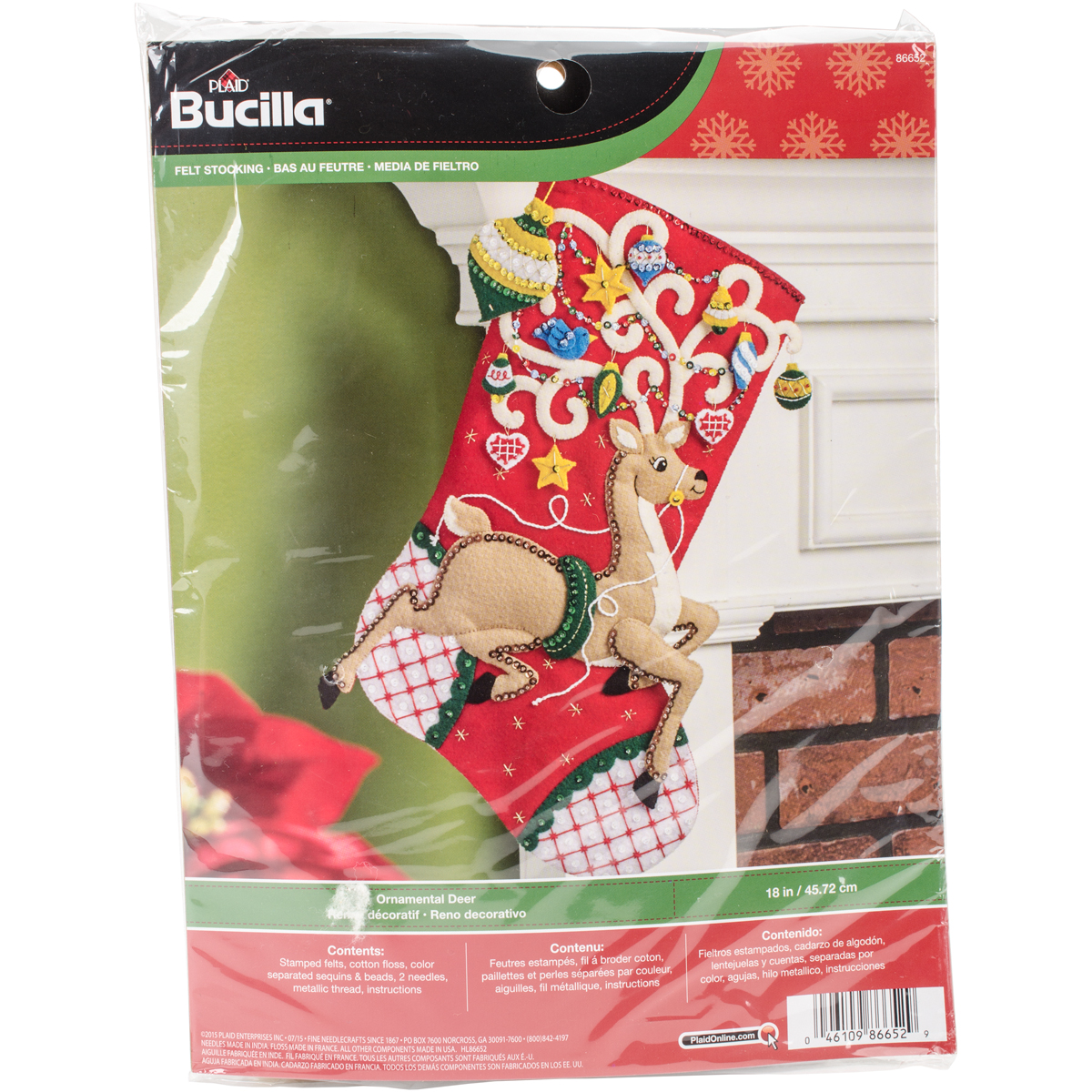 "Bucilla Felt Stocking Applique Kit 18"" Long Ornamental Deer"