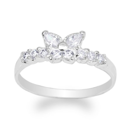 Ladies Butterfly Ring (Womens White Gold Plated Butterfly Shaped Band Ring Size 4-10 )