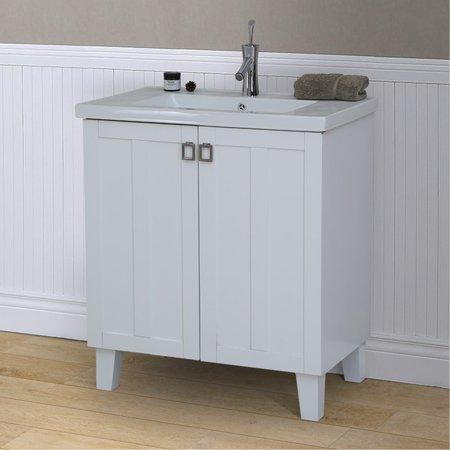 Infurniture 30-inch White Extra-thick Ceramic Single Sink Bathroom Vanity