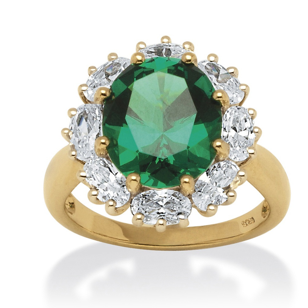 7.08 TCW Created Oval-Cut Emerald Ring with CZ Accents in 18k Gold ...