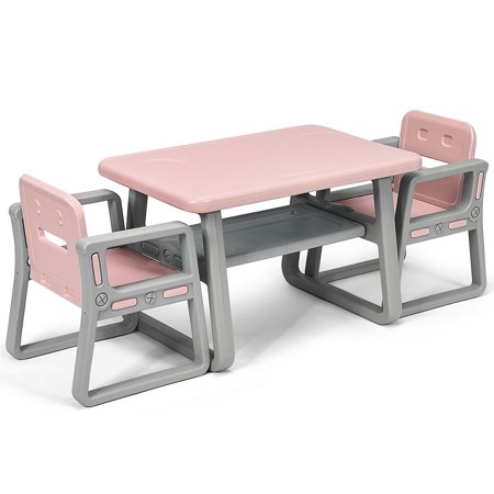 Gymax Kids Table and 2 Chairs Set Toddler Table w/ Storage Shelf For Baby Gift Pink - image 10 de 10