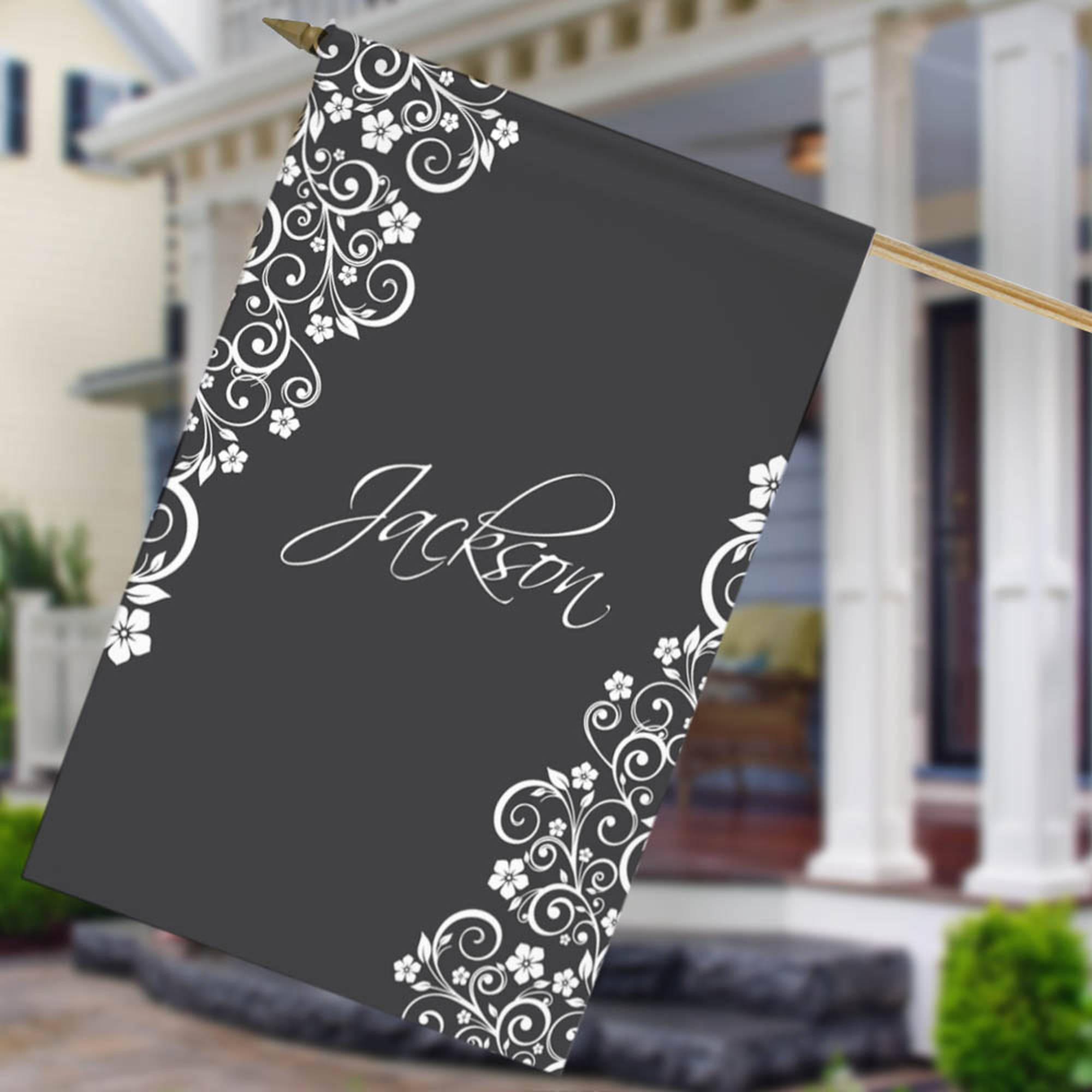 "Personalized Vine Design House Flag, 27"" x 18"""