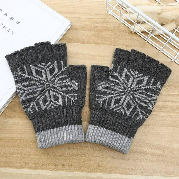 Men Knitted Stretch Elastic Warm Mittens Half Finger Fingerless Gloves Outdoor