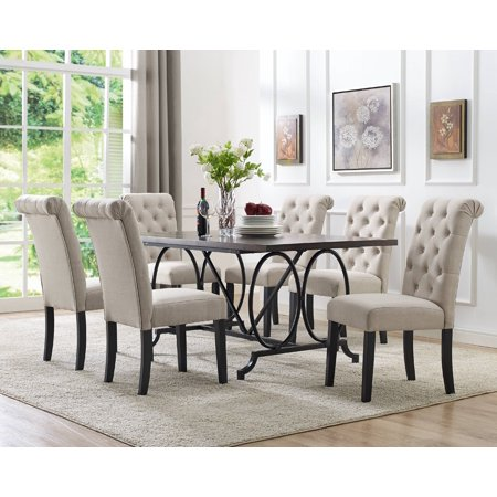 Brassex Dining Table Chairs Beige