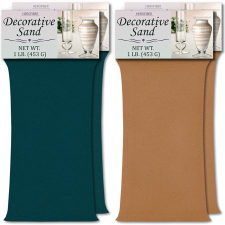 HeroFiber Colored Unity Sand (4 lbs.) - Teal and Cocoa Brown - 2 lbs. per Color - Decorative Art Sand for Weddings, Vase Filling, Kids' Craft - Teal And Brown Wedding