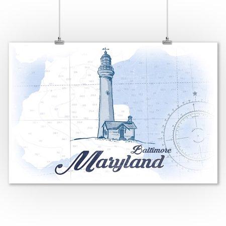 Maryland Lighthouses - Baltimore, Maryland - Lighthouse - Blue - Coastal Icon - Lantern Press Artwork (9x12 Art Print, Wall Decor Travel Poster)