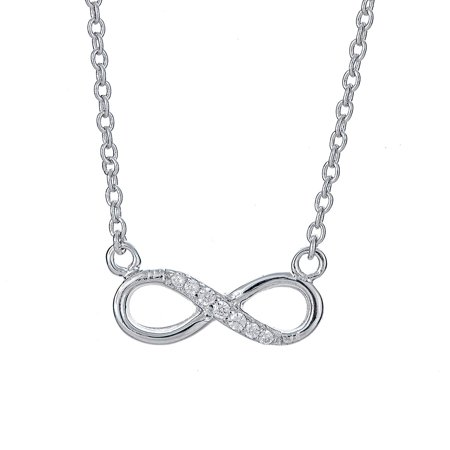 Sterling Silver Pendant Necklace with CZ Accents Infinity Love Promise Symbol Charm, Rhodium Plated 925 Silver, Adjustable Chain Length 16