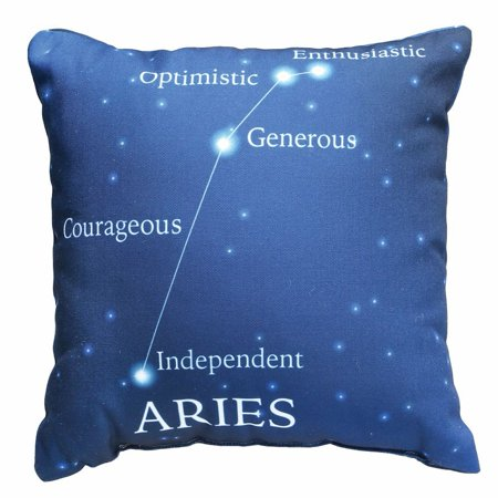Horoscope Navy Blue Decorative Throw Pillow   Aries