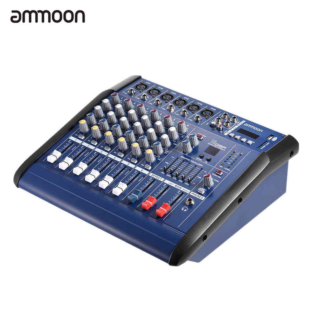 ammoon 6 channels digital mic line audio mixing console power mixer amplifier with 48v phantom. Black Bedroom Furniture Sets. Home Design Ideas