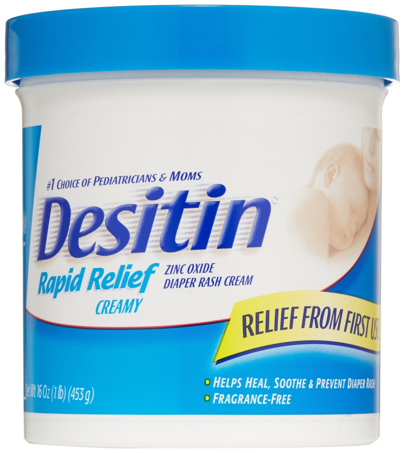 3 Pack Desitin Diaper Rash Cream Rapid Relief, 16-Ounce Jar Each