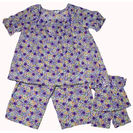 Size 14 Matching Girl And Doll Flower Pajamas