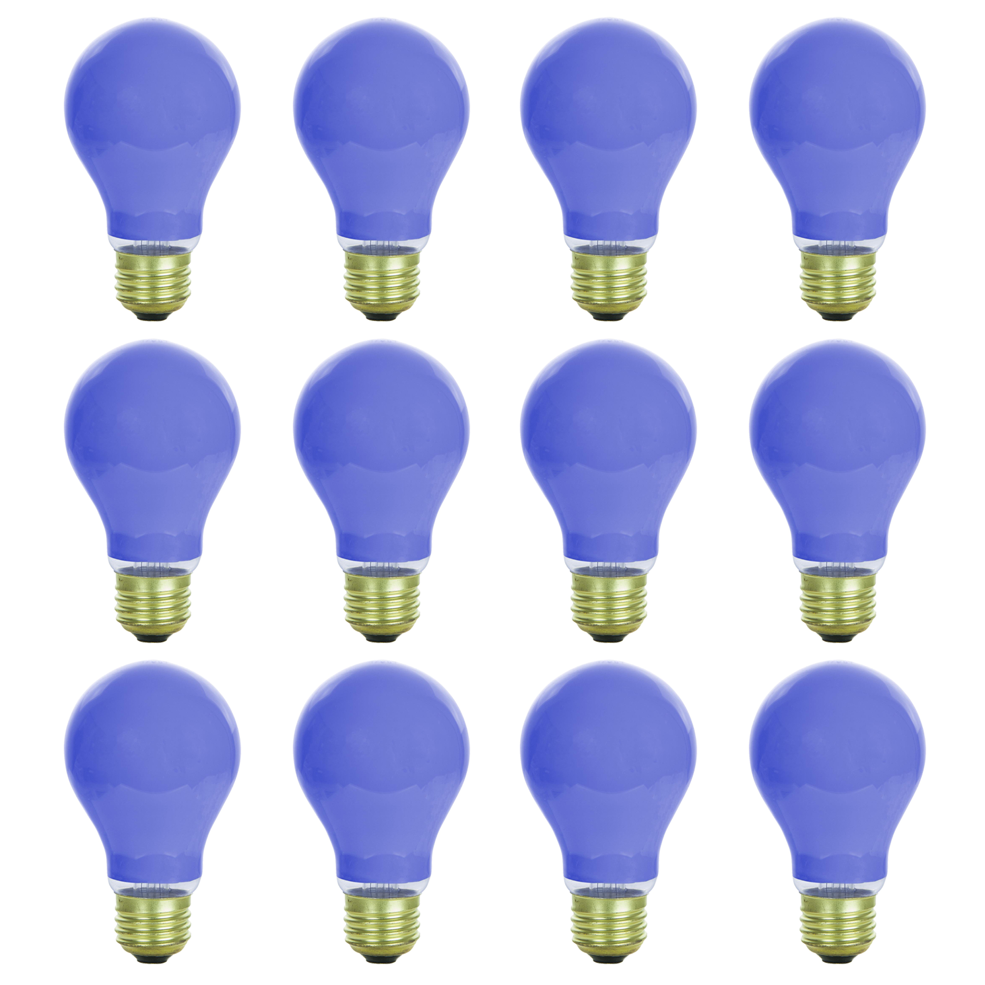12 Pack of Sunlite 25 watt Ceramic Blue Colored Incandescent Light Bulb - Parties, Decorative, and Holiday 1,250 Average Life Hours