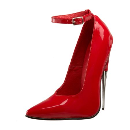 Womens Red High Heel Shoes Scream Fetish Shoes Ankle Strap Pointed 6 Inch Heels - Scream Heels