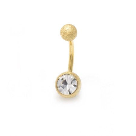 Belly Button Ring 14G Navel Ring Barbell Body Jewelry Sand Finish CZ Ball Ends Butterfly Gold Belly Button Ring