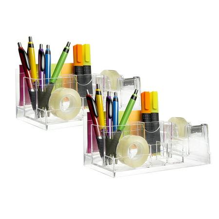 2 Desktop Organizer & Office Supplies Set Tape Pen Highlighter Sticky Notes Home Work School Accessories ()