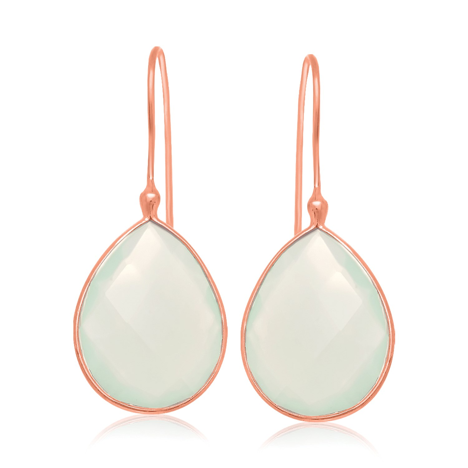 Sterling Silver Rose Gold Plated Dangling Earrings with Teardrop Aqua Chalcedony by Mia Diamonds
