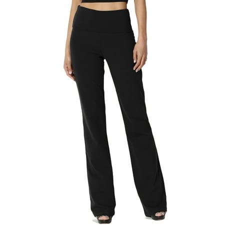 230bd151dc9ce9 TheMogan Women's PLUS Thick Stretch Cotton Foldover Waist Bootcut Yoga Pants
