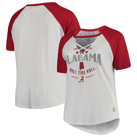 Alabama Crimson Tide Pressbox Women's Plus Size Abbie Criss-Cross Raglan Choker T-Shirt - White/Crimson