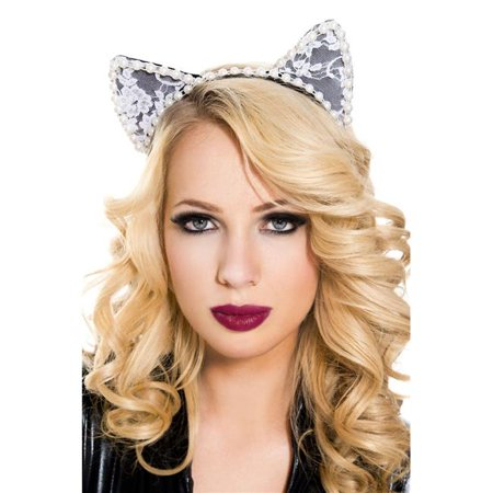 70823-WHITE-WHITE 1 Piece Fuzzy Cat Accessory Kit with Headband Accessory, White](Fuzzy Hair)