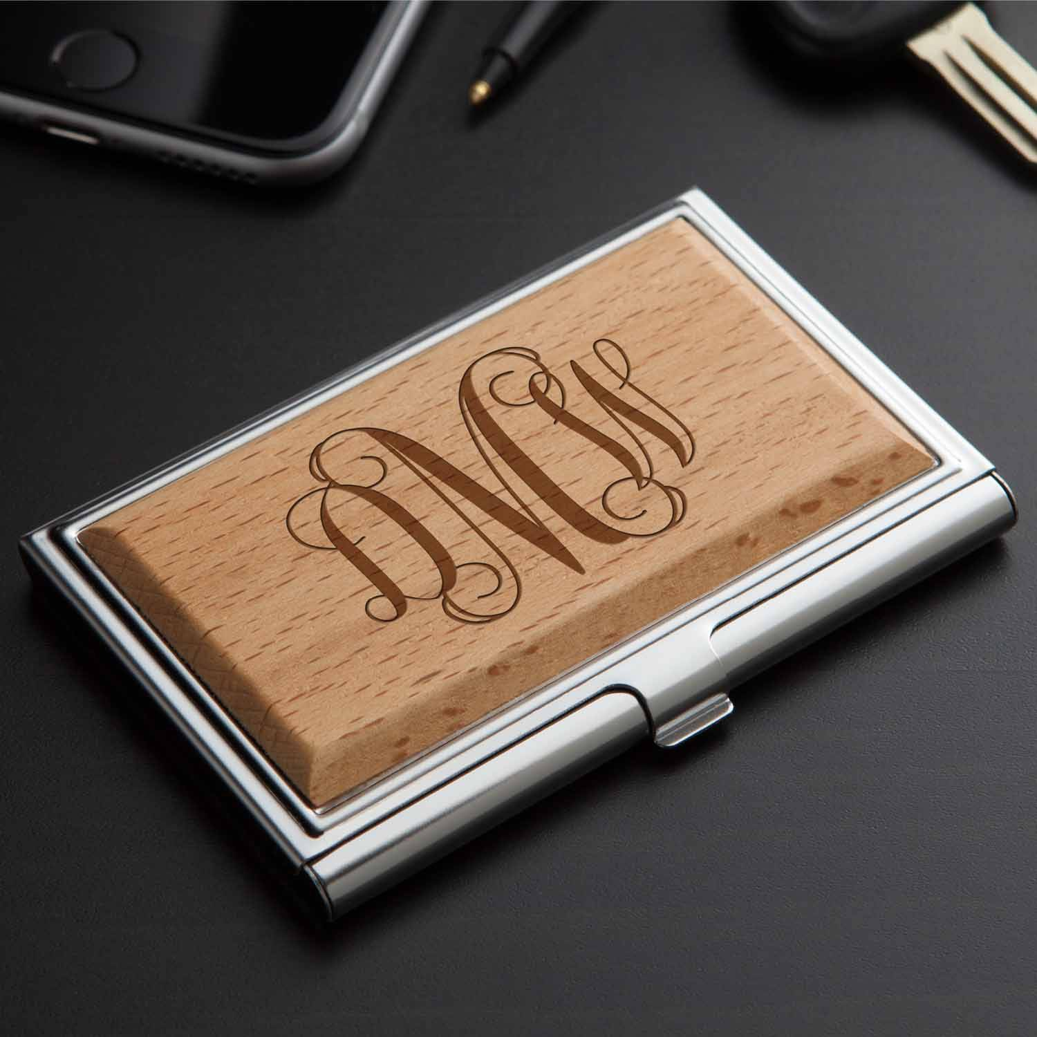 Personalized Wood Business Card Case, Script Monogram