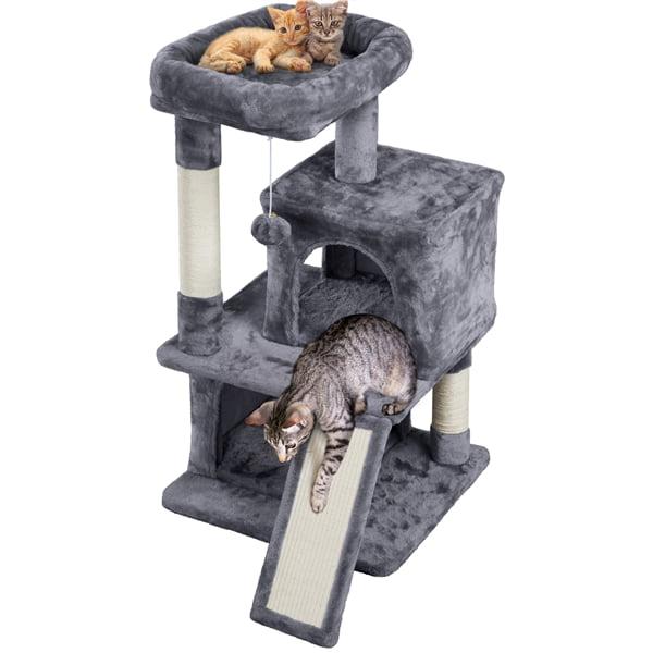 Smilemart 36 Cat Tree With Condo And Scratching Post Tower Dark Gray Walmart Com Walmart Com