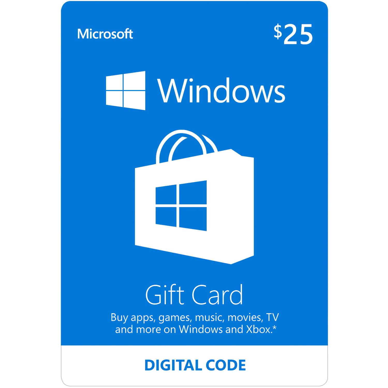 Microsoft Windows Store Gift Card $25 (Digital Code)