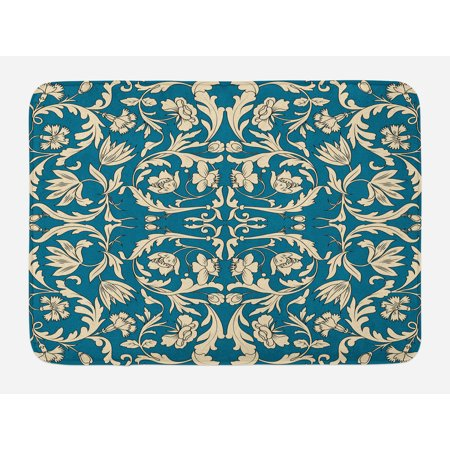 Chinese Bath Mat, Far Eastern Scroll Pattern with Floral Curls Asian Oriental Flourish, Non-Slip Plush Mat Bathroom Kitchen Laundry Room Decor, 29.5 X 17.5 Inches, Petrol Blue and Cream, Ambesonne
