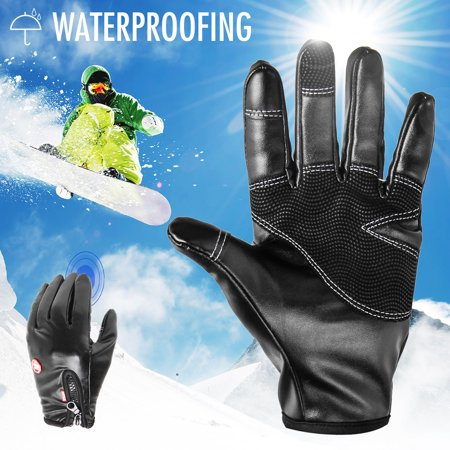 Winter Warm Leather Thermal Touch Screen Gloves Outdoor Sport Ski Cycling Waterproof Windproof