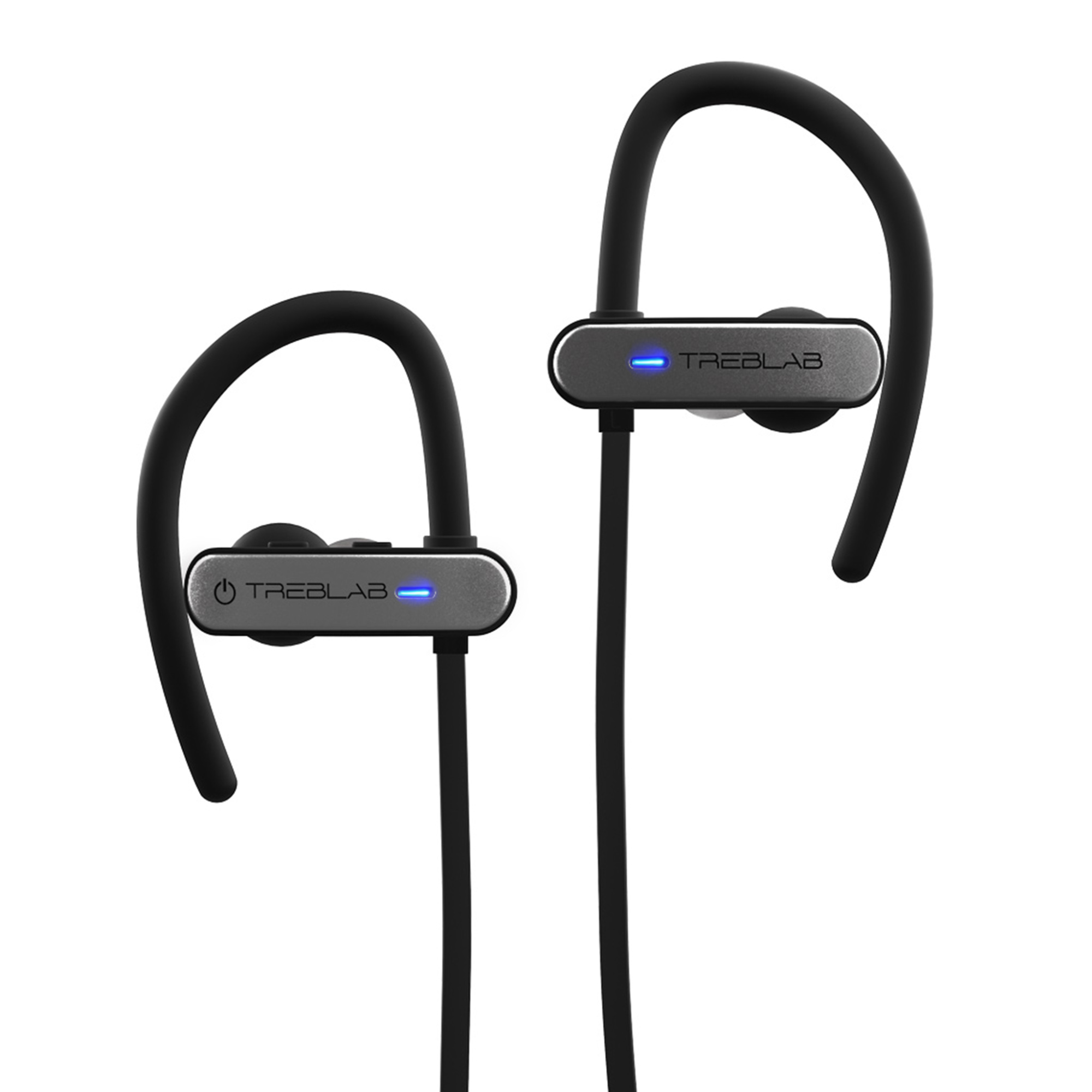 TREBLAB XR800 Bluetooth Sports Headphones, Wireless Earbuds for Running, Gym Workouts. IPX7 Waterproof, Sweatproof, Secure-Fit Noise Cancelling Earphones w/Mic, Stylish Cordless Headset (Black-Gray)